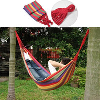 other zh00800 outdoor furniture Portable Travel Outdoor Camping Tourism Cotton Rope Swing Fabric Stripes Single Leisure Folding Hammock Canvas Bed Free shipping