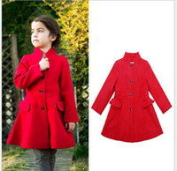 Cheap 2015 New Year Christmas party Children winter coat overcoat girls red stand-up collar woolen Slim long windbreaker wind coat Beige,NOV216