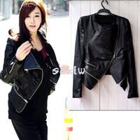 2014 Women Leather Jacket Korea Fashion Synthetic Leather Zipper Slim Jacket Coat Black