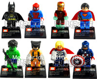 Wholesale 8pcs Super Heroes the Avengers Iron Man Hulk Batman Wolverine Thor Spider Man Bricks Blocks Sets Action Mini figures bricks Toys
