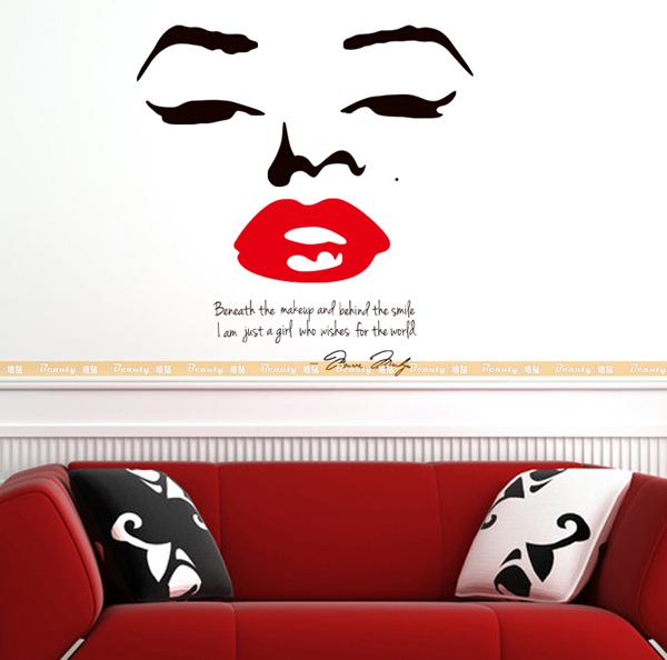 Marilyn Monroe Character Wall Stickers Personalized Beauty Bar T Billiards  Room Decorative Wall Stickers Cafe Salon Home Accessories . Part 92