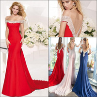 nylon chiffon - 2014 Hottest SaleThree Colours Off The Shoulder Mermaid Wattean Train prom Dresses Nylon Lace Crystals Sheer Tulle Back Chiffon Prom Dresses