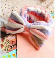 Wholesale Korea cute headband single face makeup sports headband big bow velvet towel turban