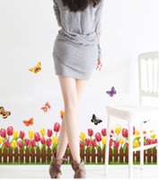 Wholesale Butterfly flower waist baseboard decorative wall stickers art home landscaping tulip stickers