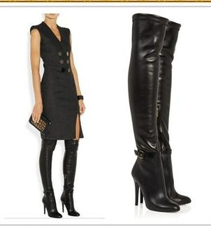 2013 Slim Tight Tall Boots Black Leather Over The Knee High Heel ...