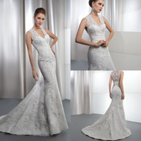 Trumpet/Mermaid Reference Images V-Neck 2014 Lace Wedding Dresses Trumpet V Neck Sheer Lace Back Covered Buttons Demetrios 1435 Court Train Wedding Bridal Dresses Gowns