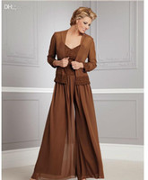 plus size pants - Autumn New Chiffon Plus Size long Sleeves Mother of the Bride Pants Suits with Jacket and Square Neckline spagetti Applique BeadsCustom Made