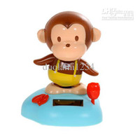 5-7 Years Bus Metal Wholesale - Solar Power Head Shaking Monkey Doll Toy-free shiping