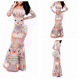 Wholesale New Fashion Woman Elegant Printed Long Sleeve Fish Tail Floor Length Dress Evening Party Wedding Party Dress