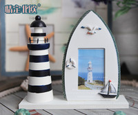 Wholesale Mediterranean Lighthouse Dimensional retro Creative marine decoration Wood Photo Frame