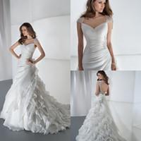 A-Line Reference Images V-Neck Off Shoulder Keyhole Back Wedding Dresses Layered Ruffles Crystal Beaded Chapel Train Wedding Bridal Dresses Gown Demetrios 3190