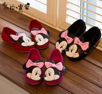Girl Spring / Autumn PU Minnie Mice Autumn Children Kids PU Dress Shoe Antiskid Casual Shoes Princess Girls Walking Slip On Flats size 26-30 gmy
