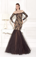 Reference Images Jewel/Bateau Tulle 2015 Newly Black Lace Long Sleeve Off the Shoulder Mermaid Formal Evening Dresses Full Skirt Nude Lining