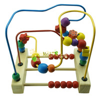Wholesale WOODEN BEAD MAZE ROLLER COASTER TOY GAME FINE MOTOR SKILLS BABY TODDLER