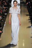 Reference Images Crew Chiffon 2014 Rhine Elie Saab Elegant Scoop Neckline Appliqued Long Women Evening Dresses Chiffon