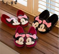 Girl Spring / Autumn PU Minnie Mice Autumn Children Kids PU Dress Shoe Antiskid Casual Shoes Princess Girls Walking Slip On Flats size 31-35 gmy
