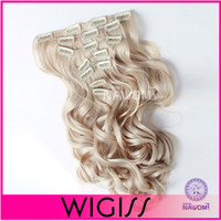 Synthetic hair clip in curly hair extension - 7 cm cm Blond curly wavy Clip In On Hair Extensions Full Head Set Wig Hair Piece Hairpieces H8000IH8001I
