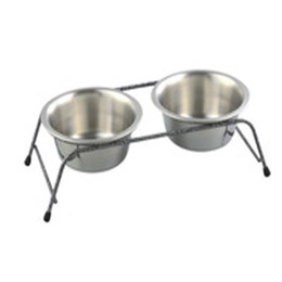 Wholesale Elevated Dog Feeder Stainless Steel Meal Dispenser Double Dinner Stand With Two Cup Rimmed Bowls Silver Great Quality