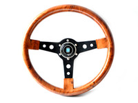 Wholesale Racing Steering Wheel Black Spoke ABS wood Look Modified For Car MOMO High Speed New Style Build Your Car