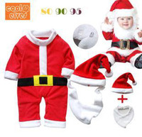 Wholesale Baby Christmas styles One Piece Rompers hat bibs set