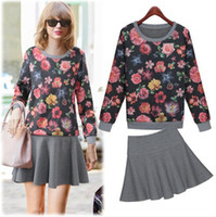 Women Pullover Crew Neck Retail! European station boutique women clothing 2014 autumn new fashion floral long sleeve elasticity hoodie+fillibeg,free shipping MA606