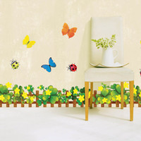 Wholesale Skirting waistline glass wall stickers living room wall stickers removable wall stickers green cartoon film Wall Stickers