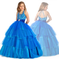 """Model Pictures Girl crystal Popular """"U"""" neck sapphire layered princess flower girl dress with bead crystal ball gown sweep train little girls pageant dresses HYD022"""