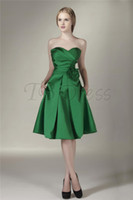 Reference Images Ruched Sleeveless custom-made! Charming Ruched A-line Flower Sweetheart Sleeveless Knee-Length Zipper Bridesmaid Dress A-072