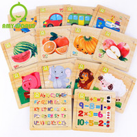 Wholesale Early Learning Animal Fruit Elephant Lion Sheep Bus Vehicles Alphabet Number DIY Wood Puzzle Educational Toys as Birthday Gift