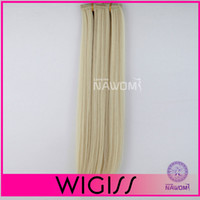 Wholesale Mix cm cm Blond Straight Clip In On Hair Extensions Full Head Set Wig Hair Piece Hairpieces H8002IH8003I