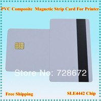 Wholesale 60pcs Printing Magnetic strip Card with SLE4442 Chip contact smart PVC Composite Card for epson Canon inkjet Printer