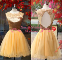 Real Photos Organza Sweetheart Gold Sequined With Applique Homecoming Dresses Backless Cocktail Party Short Prom Pageant Graduation Gowns 2014 Cheap Real Image Hot Sexy