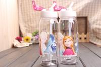 Wholesale FROZEN plastic water bottle Frozen Princess Slide Kid Children Water Bottle with Straw ml String children straw cups