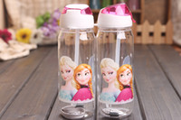 Plastic plastic tea cups - FROZEN plastic water bottle kids cartoon drinkware children straw cups cute cup tea kettle gift