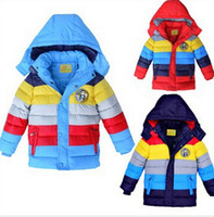 Wholesale 2014 winter Baby clothes boys hooded coat colorful striped cotton padded jacket children down outerwear kids snow wear Y New Fashion Coat