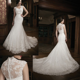Wholesale 2014 New Style Wedding Dresses Scoop Capped Sleeves Sheer Back Chapel Train Delicate Applique Lace Sash Mermaid Wedding Gown
