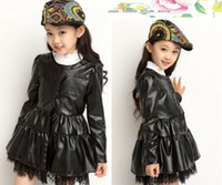 Wholesale Autumn Winter Children Leather Coat Korean Fashion Lace Pu Leather Girl Trench Coat Kids Long Style Jackets Red Black WD110