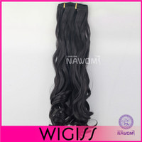 Synthetic hair clip in curly hair extension - 7pcs cm cm Dark Black Curly wave Clip In On Hair Extensions Full Head Set Wig Hair Piece Hairpieces H8004GH8005G