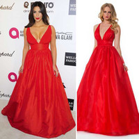 Reference Images V-Neck Taffeta Kim Kardashian V Neck Red Satin A Line Red Celebrity Dresses Special Occasion Dress 2014