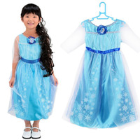 Wholesale 2015 Princess Character Costume for girls children clothing christmas halloween fancy outfit blue dress