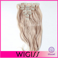 clip in curly hair extension - 7pcs cm cm Blond Curly wave Clip In On Hair Extensions Full Head Set Wig Hair Piece Hairpieces H8004IH8005I