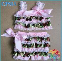 Wholesale Lace Satin Girl Swim Suit With Straps Bikini Rompers swimsuits baby Bikini Swimwear with shoulders ribbon bow set