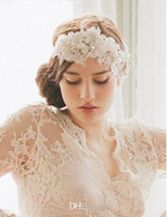 Wholesale LM Beautiful Fashional Ivory Lace Bridal Headpieces Wedding accessories SASHES Hair Band Flowers Beaded Bridal Head Pieces Fascinator