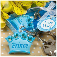 Wholesale Wedding supplies creative gifts blue pink crown keychain Wedding Favor gifts