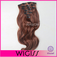 Wholesale 7pcs cm cm Dark Brown Curly wave Clip In On Hair Extensions Full Head Set Wig Hair Piece Hairpieces H8004KH8005K
