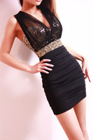 Casual Dresses Sleeveless Above Knee/ Mini Free Shipping 2014 Sexy Lace Dress Short Tight Mini Luxury Club Satin Women Clothes sequined Party Evening black dresses