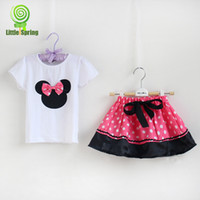 Girl baby girl clothing sets - Girls Sets Baby girl Cartoon short sleeve t shirts Short pants or skirt Kids clothes set sets color Girls skirt sets