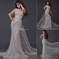 Reference Images Scoop Crepe Elie Saab Sliver Gray Evening Dresses Backless Sheer Neck Crystals Prom Dress Evening Gowns Half Sleeves 2015 Sexy Mermaid LZ356