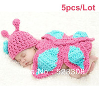 Girl Spring / Autumn Sleeveless Wholesale-5pcs Lot Newborn Baby Girl Boy Crochet Knit Mermail Minnie Costume Photo Props Outfit 18497