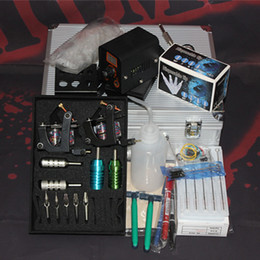 Wholesale Tattoo Kit Set with alloy tattoo guns plastic tattoo tips tattoo grips power footswitch clipcord supply for tattoo supply